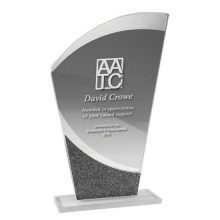 Glass Curve Trophy with Mirror Trim