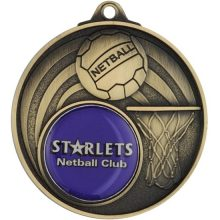Gold Netball Medal With 25mm Centre